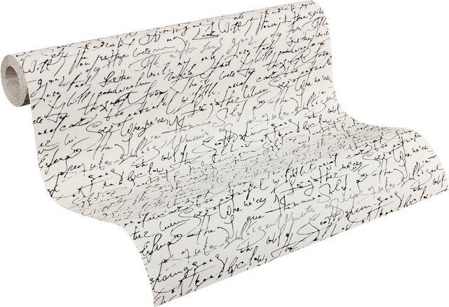 Schöner Wohnen Kollektion Vliestapete, Mustertapete mit edler, klassischer Schrift, Bohemian Rapsody, weiß