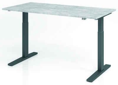 bümö Schreibtisch »OM-XMKA16«, elektrisch höhenverstellbar - Rechteck: 160x80 cm - Dekor: Beton