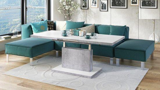 Mazzoni Couchtisch »Design Couchtisch Tisch Aston Weiß Matt / Beton Betonoptik stufenlos höhenverstellbar ausziehbar 120 bis 200cm Esstisch«