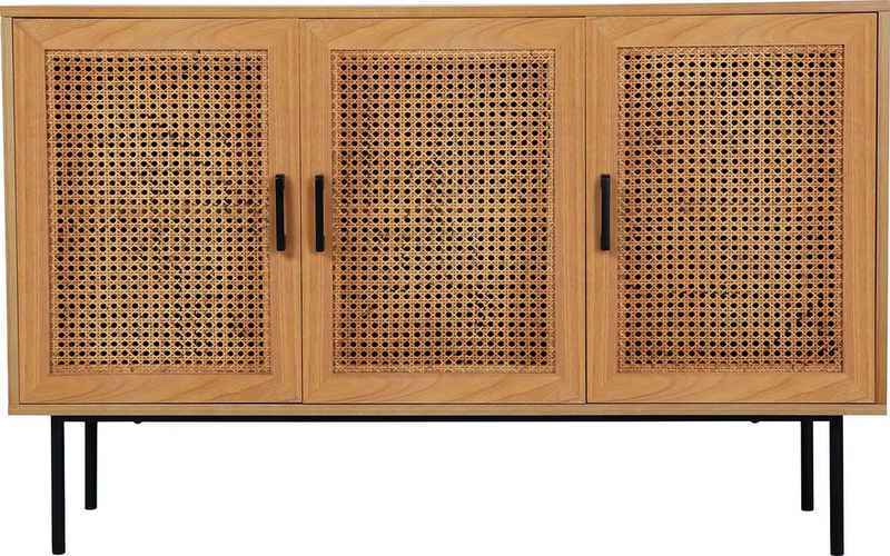 my home Sideboard »Ailis«, Türen mit Einsatz aus Rattangeflecht