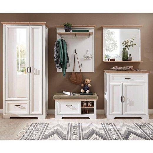 Lomadox Garderoben-Set »JÜLICH-36«, (Spar-Set, 5-tlg), Landhaus mit Kleiderschrank in Pinie weiß mit Artisan Eiche, BxHxT ca.: 320 x 204 x 41 cm