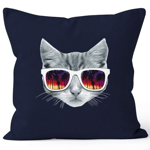 MoonWorks Dekokissen »Kissenbezug Katze mit Sonnenbrille Kissen-Hülle Deko-Kissen 40x40 MoonWorks®«