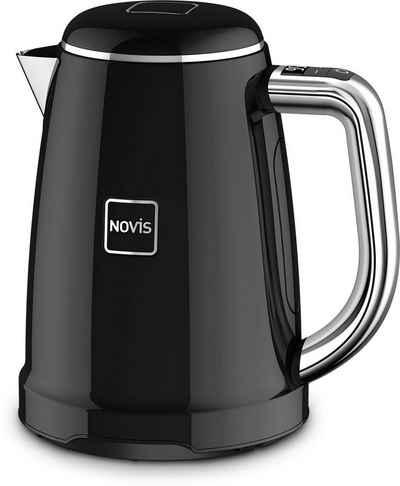 NOVIS Wasserkocher KTC1 schwarz, 1,6 l, 2400 W, mit elektronischer Temperatureinstellung, Metallgehäuse