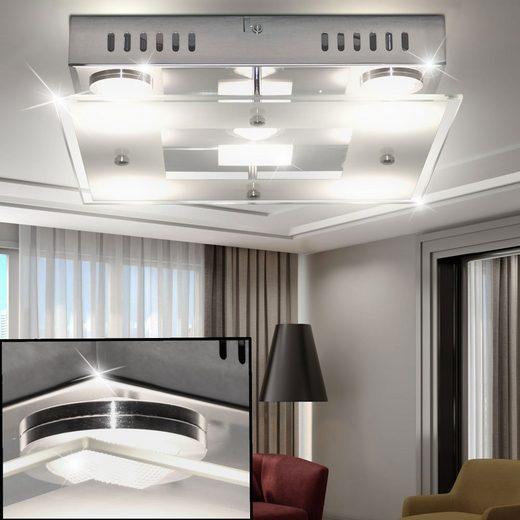 WOFI Deckenstrahler, LED Decken Lampe Chrom Wohn Ess Schlaf Zimmer Beleuchtung Glas Leuchte satiniert WOFI 9102.05.01.0000