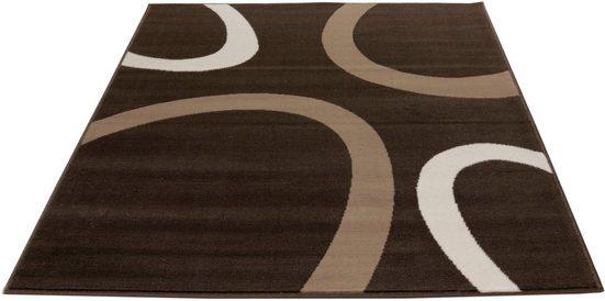 Teppich »Kreise«, Living Line, rechteckig, Höhe 7 mm, Velours mit Retro-Motiv