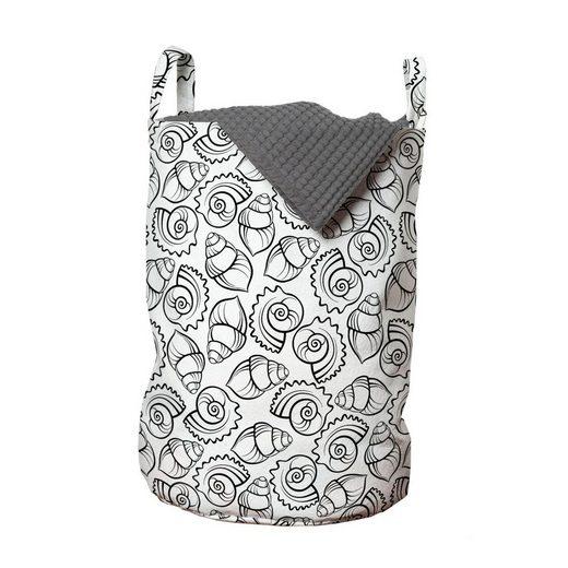 Abakuhaus Wäschesack »Wäschekorb mit Griffen Kordelzugverschluss für Waschsalons«, Schale Monochrome Cockleshell Sea