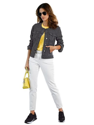 Amy Vermont Jeansjacke mit Hahnentrittmuster