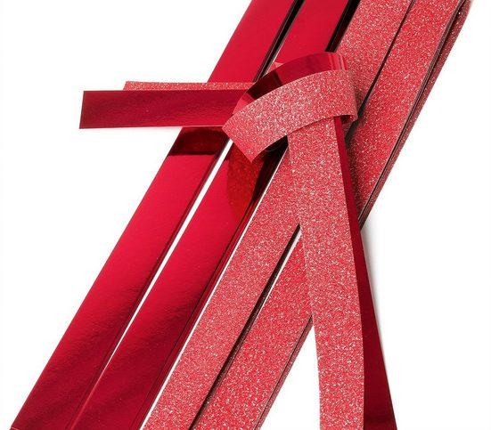VBS Papiersterne »Papierstreifen glänzend Glitter, rot«, 12 Streifen XXL-Format