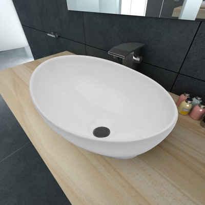 vidaXL Waschbecken »vidaXL Luxus Keramik Waschbecken Oval Weiß 40 x 33 cm«