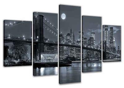 Visario Bild mit Rahmen »2 m x 1 m fünfteiliges Bilderset von Visario auf Leinwand fertig zum Aufhängen/gerahmt«, NYC