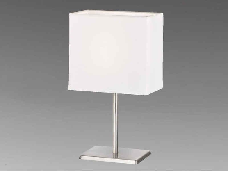 FHL easy! LED Nachttischlampe, kleine Stoff-Lampe mit Lampenschirm Weiß eckig – Designklassiker für die Fensterbank