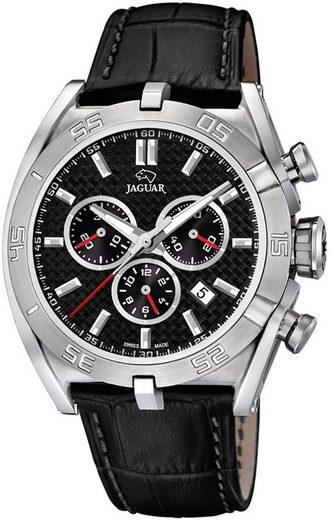 Jaguar Chronograph »UJ857/4 Jaguar Herren Uhr Sport J857/4 Leder«, (Chronograph), Herren Armbanduhr rund, extra groß (ca. 46mm), Lederarmband schwarz
