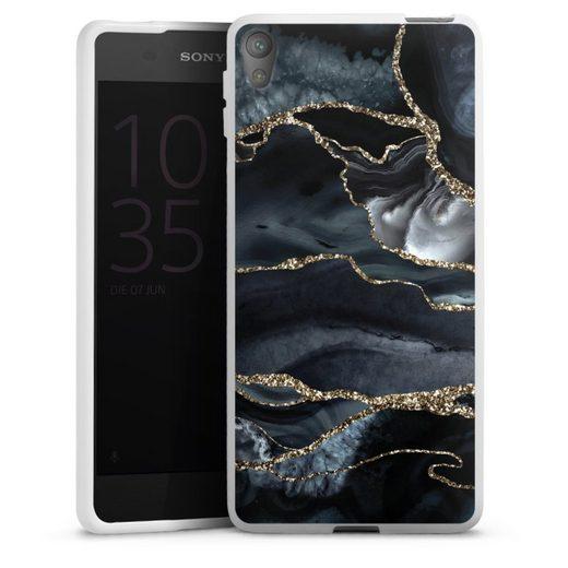 DeinDesign Handyhülle »Dark marble gold Glitter look« Sony Xperia E5, Hülle Glitter Glitzer Look Gold