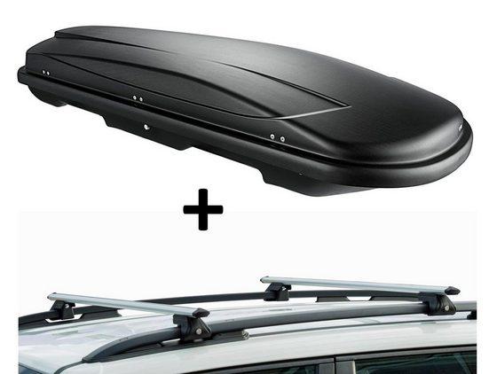 VDP Fahrradträger, Dachbox VDPJUXT500 500Ltr abschließbar schwarz + Dachträger CRV135 kompatibel mit Renault Koleos I (5 Türer) 2008-2017