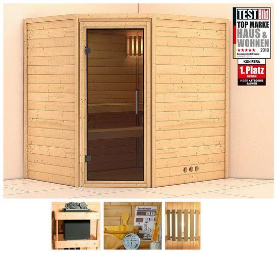KONIFERA Sauna »Meyk«, 196x170x198 cm, ohne Ofen, Glastür graphit
