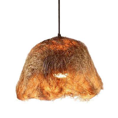 Casa Moro Pendelleuchte »Orientalische Hängeleuchte Tegal aus Naturfaser Abaca mit Baldachin, Kabel und mit einer E27 Lampenfassung, Handmade Naturlampe«, Natur Lampe