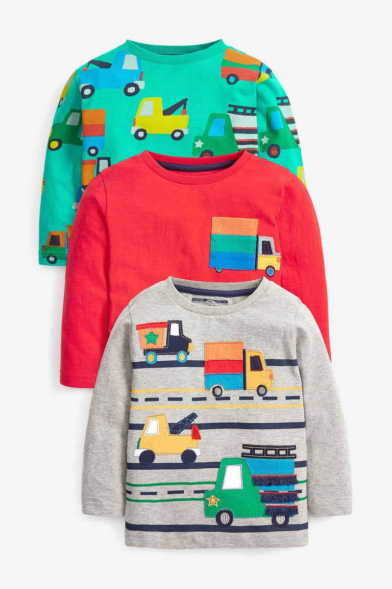 Next Langarmshirt »Langärmelige Shirts mit Figurenmotiv im3er-Pack« (3-tlg)