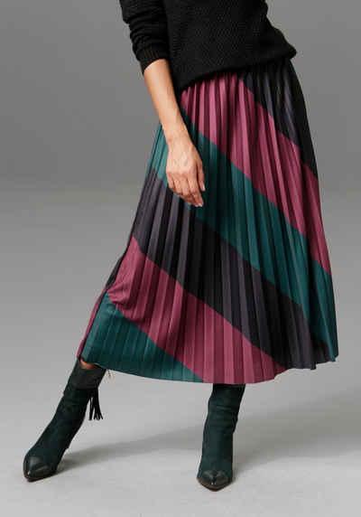 Aniston CASUAL Plisseerock mit schräg verlaufendem Colorblocking - NEUE KOLLEKTION