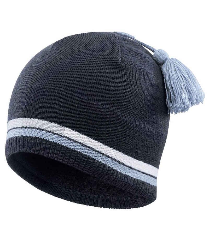 Salomon Beanie »Salomon Escape Beanie trendige Strick-Mütze mit Streifen und Bommel Wintersport-Mütze Dunkel-Blau«