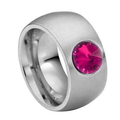 Heideman Fingerring »Coma 11 Glanzmatt« (1-tlg), Damenring mit Stein weiss oder farbig