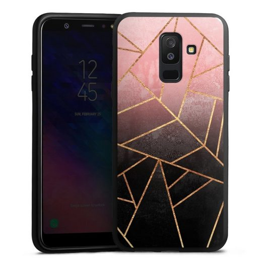 DeinDesign Handyhülle »Pink And Black Stone« Samsung Galaxy A6 Plus Duos (2018), Hülle Farbverlauf Geometric Gold