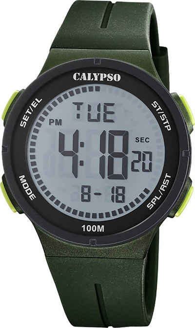 CALYPSO WATCHES Digitaluhr »UK5803/2 Calypso Herren Uhr Digital K5803/2«, (Digitaluhr), Herrenuhr rund, groß (ca. 44mm), Kunststoffarmband, Fashion-Style