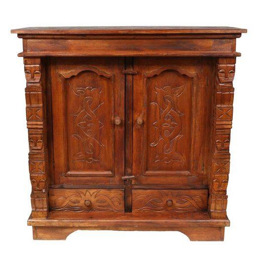 Oriental Galerie Mehrzweckschrank »Schrank 80 x 80cm Braun Tribal« Handarbeit