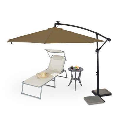 relaxdays Ampelschirm »Brauner Ampelschirm mit LED«, neigbar