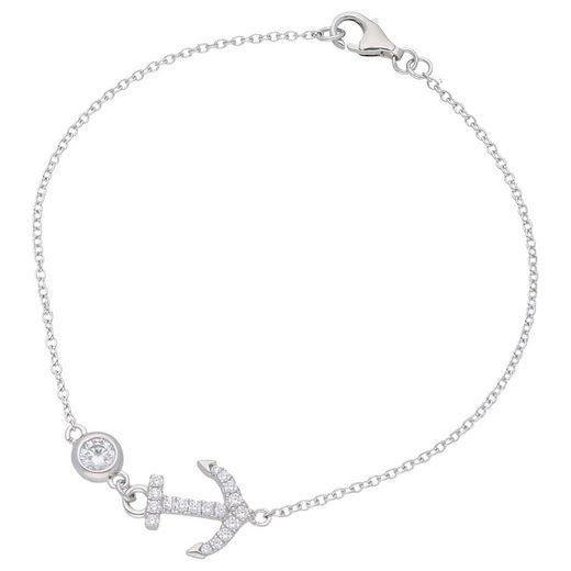 Smart Jewel Armband »Anker mit Zirkonia Steinen, Silber 925«