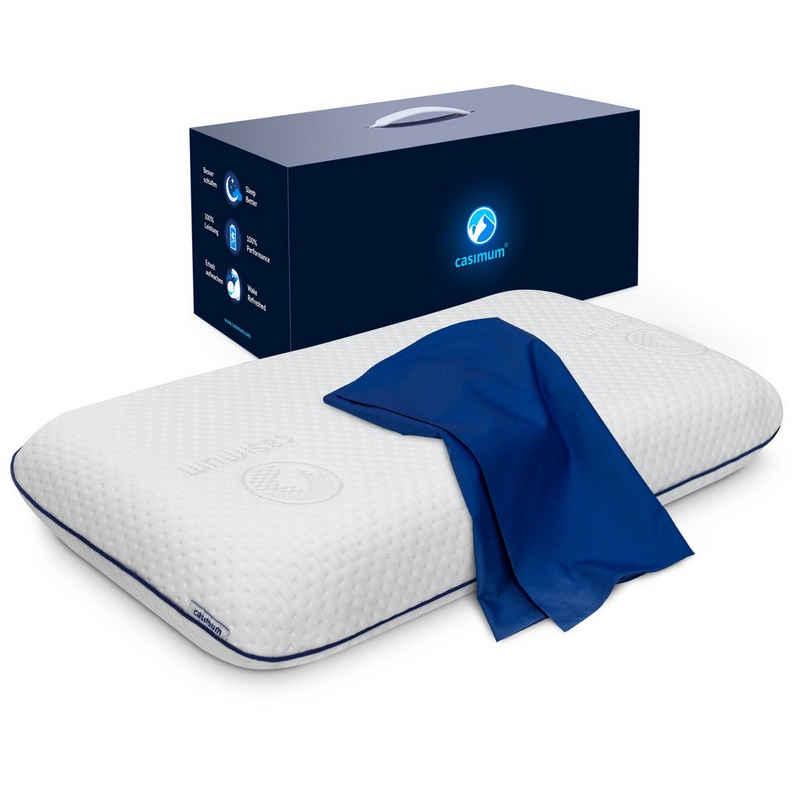 Nackenstützkissen, »Comfort«, casimum, Füllung: Memory Foam, Ergonomisches Memory-Schaum Nackenkissen, HWS Kopfkissen für Rückenschläfer & Seitenschläfer, 70x40 cm, mit blauem Bezug