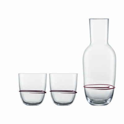 Zwiesel Glas Gläser-Set »Aura Aubergine«, Glas, Karaffe mit 2 Bechern