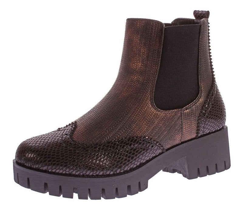 Scandi »Stiefeletten Block Absatz Boots Knöchel Schuhe« Stiefelette Metallic-Effekt, Reptil-Print