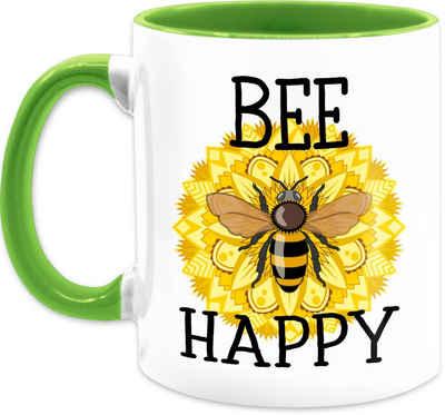 Shirtracer Tasse »Bee happy - schwarz - Statement Tasse - Tasse zweifarbig«, Keramik