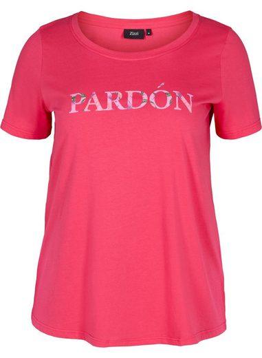 Zizzi T-Shirt Große Größen Damen Print Rundhals Baumwolle