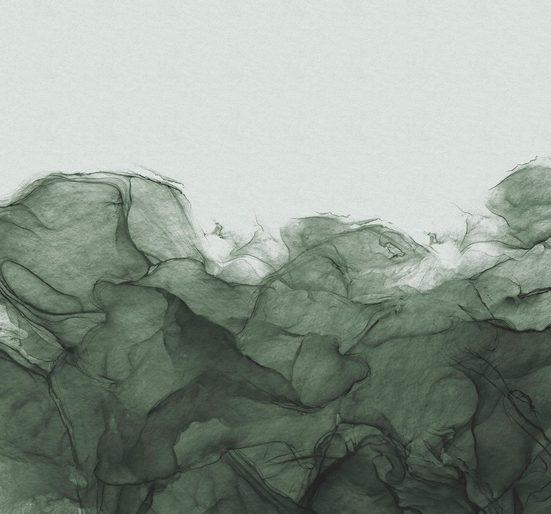 Komar Fototapete »Vliestapete Green Dust«, glatt, bedruckt, Kunst, Ethnomuster, realistisch, Farbverlauf, 300 x 280 cm