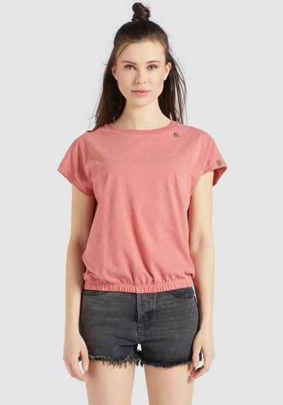 khujo T-Shirt »MARIKA« Rundhals Shirt mit Gummizug am Saumabschluss