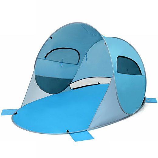COSTWAY Strandmuschel »Strandzelt, Wurfzelt«, mit Tragetasche & 2 Netz-Fenstern & 4 Sandtaschen automatisch für Strand, Garten, Camping