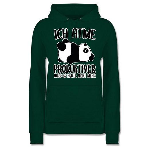 Shirtracer Hoodie »Ich atme produktiver wird es nicht mehr mit Panda - weiß - Sprüche - Damen Premium Kapuzenpullover - Pullover & Hoodies« cooler hoodie / kapuzenpullover