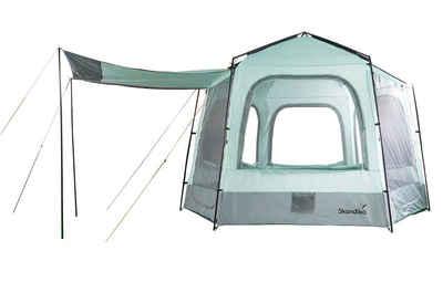 Skandika Hauszelt »Kardis, Hexagon Zelt«, 4 Personen, Durchmesser: 360 cm (sechseckige Form), Stehhöhe: 240/185 cm, 2 Eingänge mit Moskitonetz und Wetterschutz
