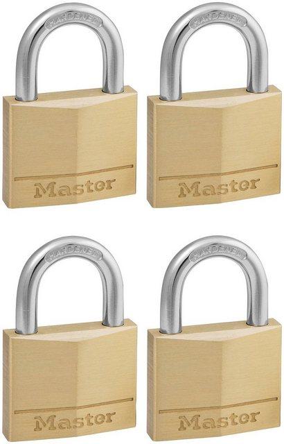 Master Lock Vorhängeschloss, Sicherheitsklasse 5, (Set, 4-tlg), Messing