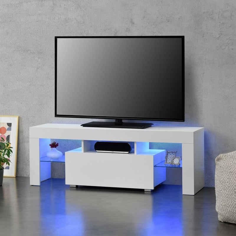 en.casa TV-Board, »Grimsey« Fernsehtisch mit LED Beleuchtung und Glasablage