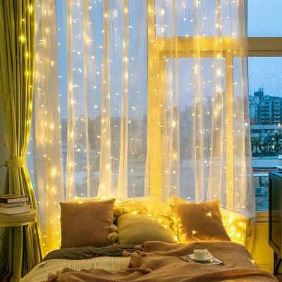 Elegear LED-Lichterkette, Quntis 6 x 3m 600 LED Lichterketten Lichtervorhang, Erweiterbarer Lichterkettenvorhang Innen für Zimmer Fenster, IP44 Weihnachtsbeleuchtung Außen für Balkon Terrasse Garten, Weihnachtsdeko Warmweiß