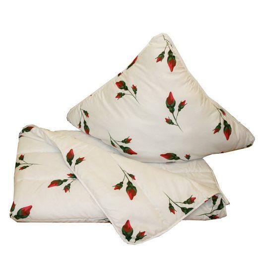 Bettdecke + Kopfkissen, »50280«, Casa Colori, Material Füllung: Kunstfaser, (Set), Bettenset 135x200 cm + 80x80 cm Bettdecke und Kopfkissen Weiß mit Druck gesteppt