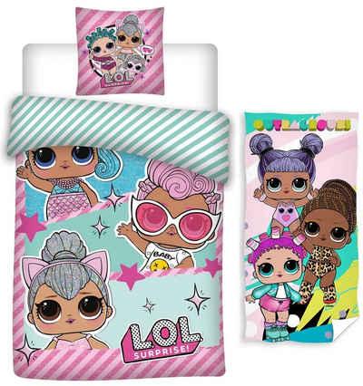 Kinderbettwäsche »LOL Surprise - Kinder-Bettwäsche-Set, 135x200 und Bade-handtuch, 70x140 cm«, LOL Surprise, 100% Baumwolle