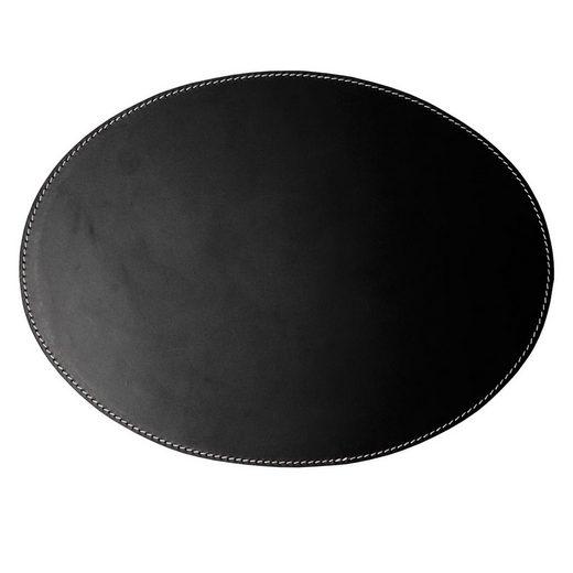 Platzset, Orskov, Orskov Tischset aus Leder oval schwarz mit weißen Nähten