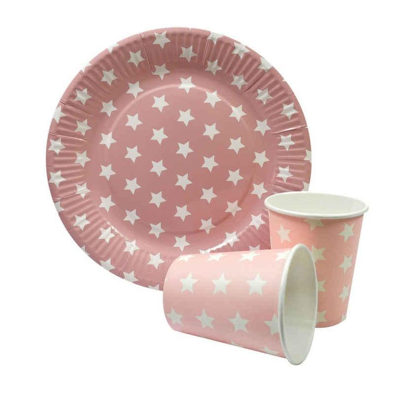 Frau WUNDERVoll Einweggeschirr-Set »Partyset 12 Pappbecher+12 Pappteller rosa, weiße«, Papier