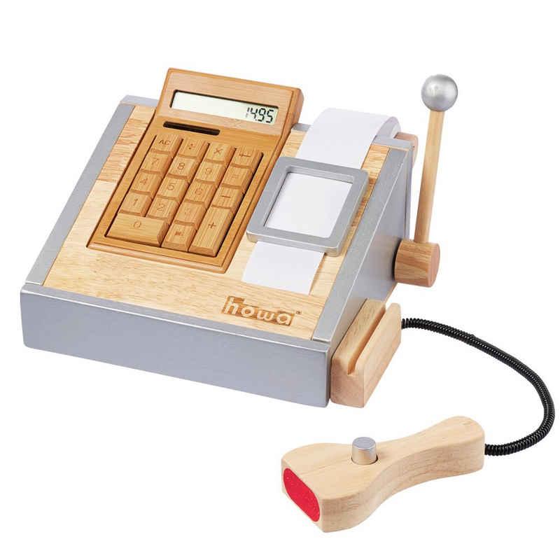 howa Spielkasse, aus Holz mit Taschenrechner und Spielgeld
