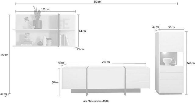 Wohnwände - INOSIGN Wohnwand »CAiO«, (Set, 3 St), Breite ca. 312 cm  - Onlineshop OTTO