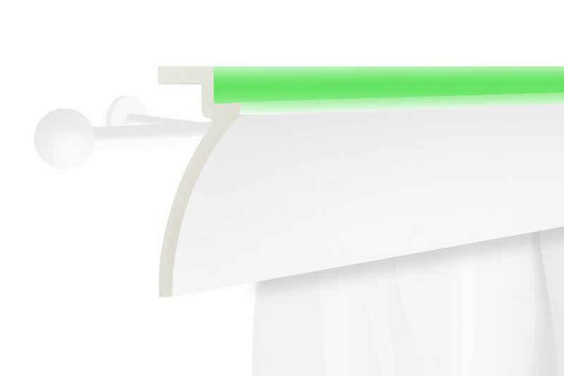 Tesori Eckprofil »KF801«, LED Vorhangblende aus PU - Indirekte Beleuchtung mit Stuckleisten, leicht & lichtundurchlässig - 1 Stück / 2 Meter