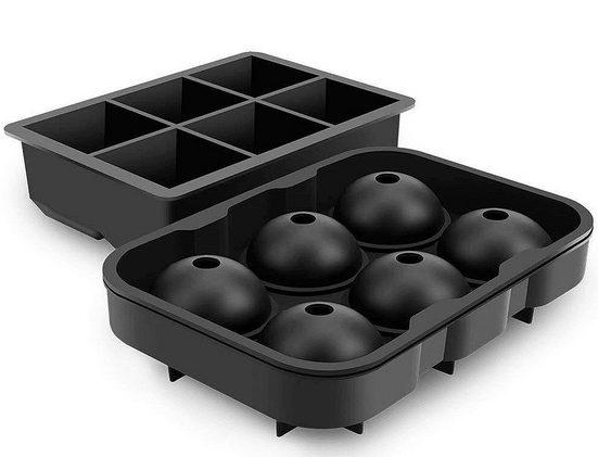 PRECORN Eiswürfelform »2er Set Eiswürfelform aus Silikon Eiswürfelbehälter mit Deckel BPA Frei für Eiswürfel Ice Cube perfekt für Gekühltes Bier Cocktails Whisky Dessert«